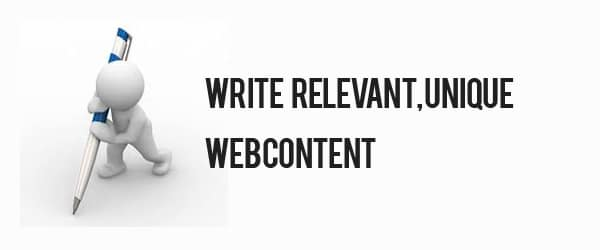 write relevant unique webcontent